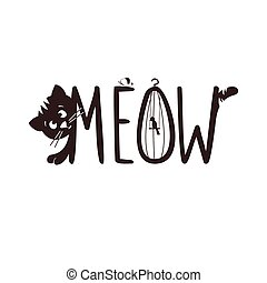 Vector illustration of a little kitten. The cat s meow. -...