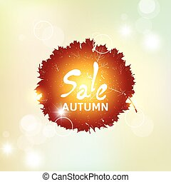 Autumn pattern with colorful translucent leaves. The sale -...