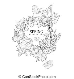 Wrath Of Spring Flowers Hand Drawn Realistic Sketch....