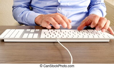 Businessman white shirt typing keyboard - Businessman with...