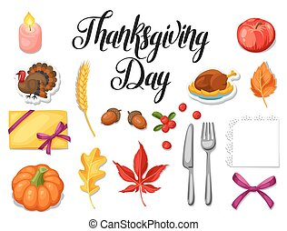 Thanksgiving Day set of object. Autumn and holiday items