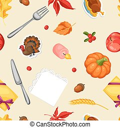 Thanksgiving Day seamless pattern. Ornament with autumn and...
