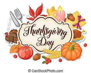 Thanksgiving Day greeting card. Background with autumn and...
