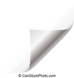 Silver page curled corner Easy to edit vector image