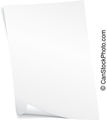 Blank vector page - Blank white vector page with curled...