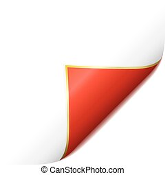 Page curled red corner - White paper corner with red page...