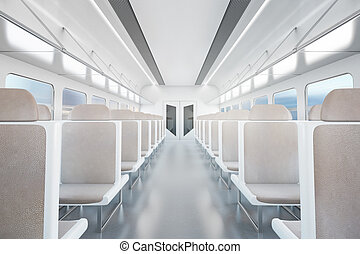 Empty train interior - Empty passenger train interior with...