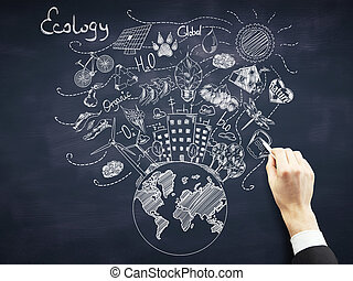 Green world concept - Businessmans hand drawing creative...
