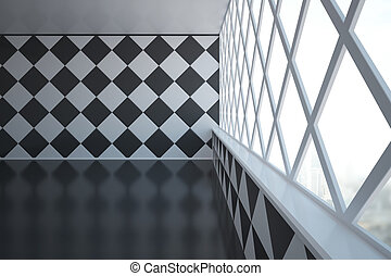 Empty patterned room side - Abstract empty interior design...