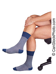 Male legs in blue socks Isolated on white background - Male...