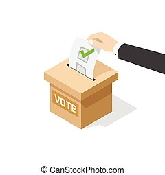 Voting vector illustratio, man hand political ballot in vote box