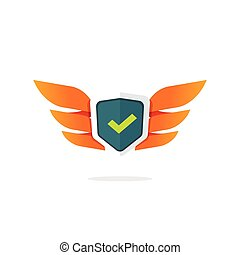 Wings shield vector symbol, concept of protection logo