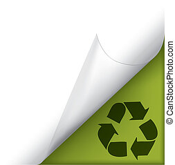 Page curled corner with recycle sign - Vector white page...