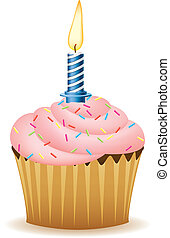 Happy Birthday. Cupcake With Candle Vector Image.