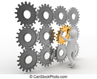 3d person is putting the special part of an engine of cogs