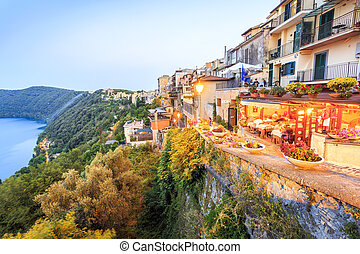City life in Castel Gandolfo, pope's summer residency, Italy...