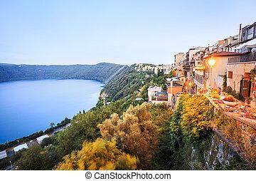 City life in Castel Gandolfo, popes summer residency, Italy...