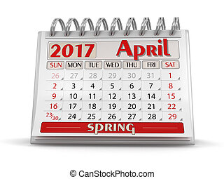 Calendar -  April 2017  (clipping path included)