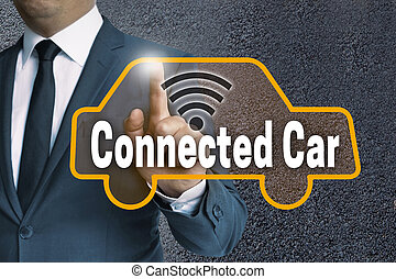 connected car touch screen is operated by businessman...