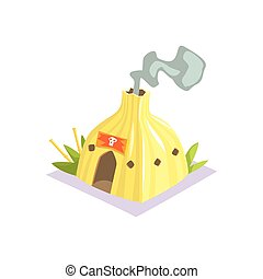 Shaman Hut With Smoke Coming Out Jungle Village Landscape Element
