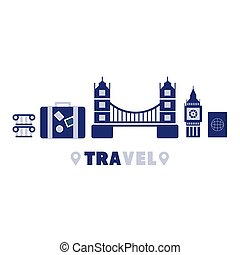 London Travel Symbols Set By Five In Line