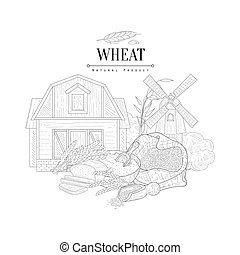 Wheat Natural Product Logo Hand Drawn Realistic Sketch. Hand...