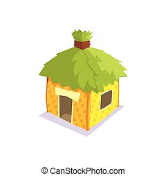 Hut With Green Leaves On The Roof Jungle Village Landscape Element