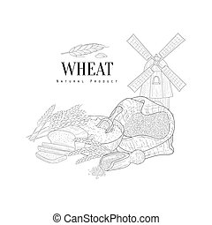 Wheat Natural Product Hand Drawn Realistic Sketch With...