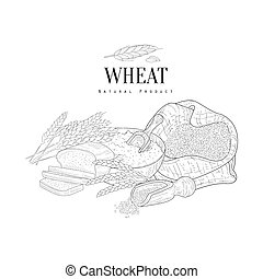 Wheat Production Still Life Hand Drawn Realistic Sketch....