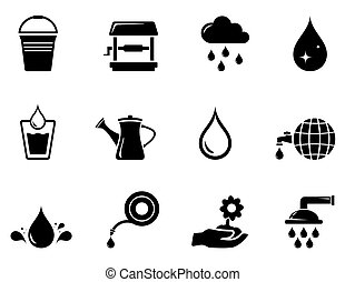 watering black icon - set of isolated watering black icons...