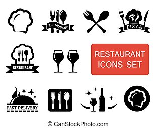restaurant icon with red signboard - set of isolated black...