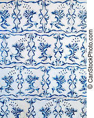 Blue ceramic tiles ornament pattern.