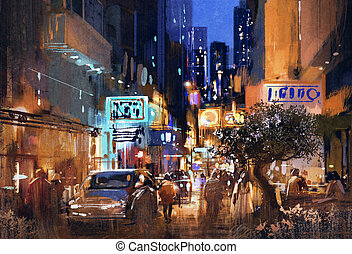 colorful painting of night street