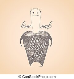 Ice cream vector logo, sign, emblem. Original design element...