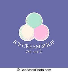 Ice cream vector logo, symbol, emblem. Vintage design...