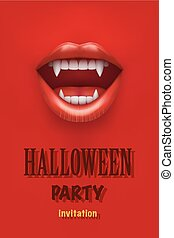 Halloween Party Invitation with vampire mouth open red lips...