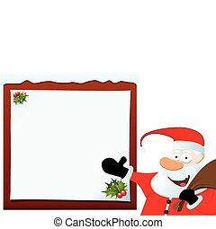 Santa Claus Pointing On Blank Board. Christmas Series.