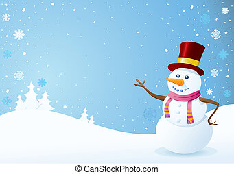 Snowman on Christmas Background. Christmas Backgrounds...