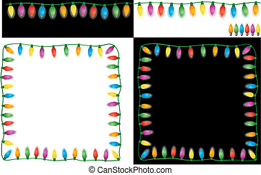 Christmas Lights Set Easy To Edit Vector Image