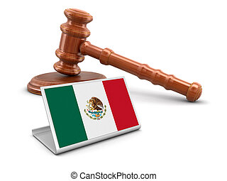 3d wooden mallet and Mexican flag