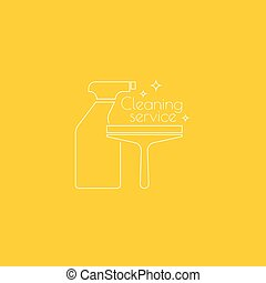 Vector icon hand brooms. - Logo cleaning service with spray...