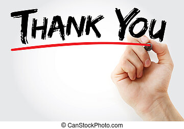 Hand writing Thank You with marker