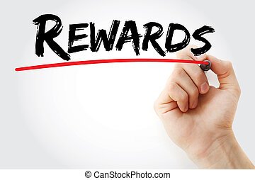 Hand writing Rewards with marker, business concept