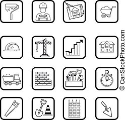 Outline web icon set. Building, construction vector tools