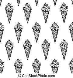 Seamless pattern with ice cream cones. Hand drawn vector...