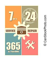 Repair fix tool icons. 24h 7 day customer support service
