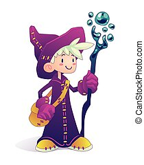 Cartoon mage character. - Happy cartoon mage character...