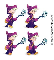 Happy cartoon mage character in move. - Happy cartoon mage...