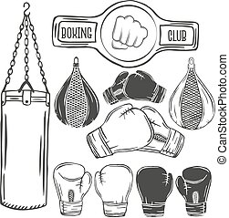 Vector set of boxing equipment monochrome labels. Logo,...