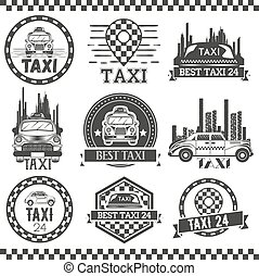 Taxi company labels in vintage style. Design elements, icons, logo, emblems. Cab transportation service.